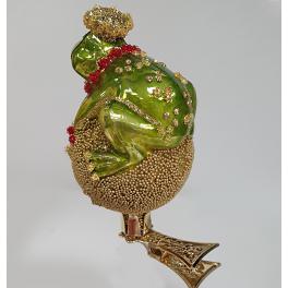 Стеклянная ёлочная игрушка на прищепке «Лягушка», 6,5х5 см