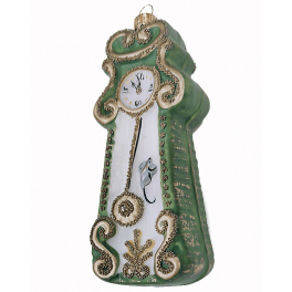 Стеклянная ёлочная игрушка «Часы», 12 см