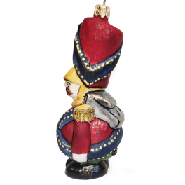 Стеклянная ёлочная игрушка «Солдатик с ранцем», 12 х 5 см