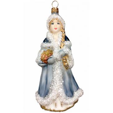 Стеклянная ёлочная игрушка «Снегурочка со шкатулкой», высота 12 см