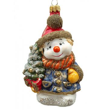 Стеклянная ёлочная игрушка ручной работы «Снеговик с ёлочкой»