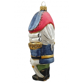 Стеклянная ёлочная игрушка ручной работы «Щелкунчик»