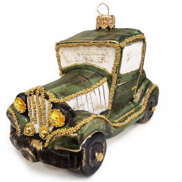 Стеклянная ёлочная игрушка «Джип зелёный», 12 х 6,5 см