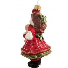 Стеклянная ёлочная игрушка «Девочка с мишкой», 12 х 7 см
