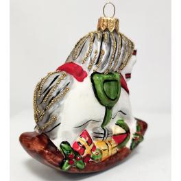 Стеклянная ёлочная игрушка «Лошадка качалка», 10 х 9 х 5 см