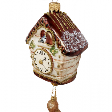 Стеклянная ёлочная игрушка «Часы с кукушкой», Размер 8 х 7 х 4 см, общая высота - 19 см