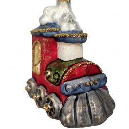 Стеклянная ёлочная игрушка «Паровоз», 10 х 9 см