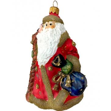 Стеклянная ёлочная игрушка «Дед Мороз в красной шубе», высота 12 см