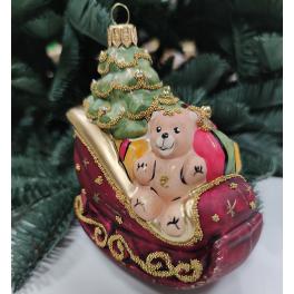 Стеклянная ёлочная игрушка «Сани с подарками», 10х9 см