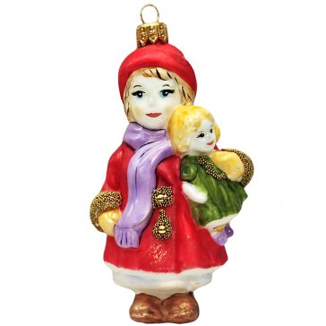 Стеклянная ёлочная игрушка «Девочка с куклой», 12 х 7 см