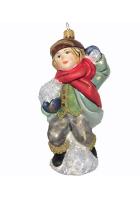 Ёлочная игрушка «Мальчик со снежком»
