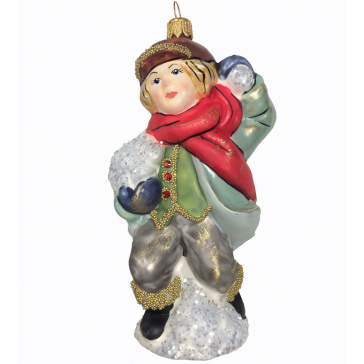 Стеклянная ёлочная игрушка «Мальчик со снежком», 12 см