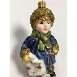 Стеклянная ёлочная игрушка «Мальчик с коньками», 12 см