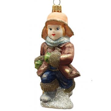 Стеклянная ёлочная игрушка «Мальчик на коньках», ручная работа