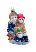 Ёлочная игрушка «Дети на санках»