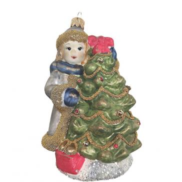 Стеклянная ёлочная игрушка «Девочка с ёлочкой», 12 х 8 см