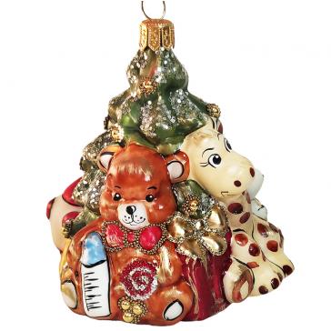 Стеклянная ёлочная игрушка «Ёлка со зверятами», 10 х 8,5 см