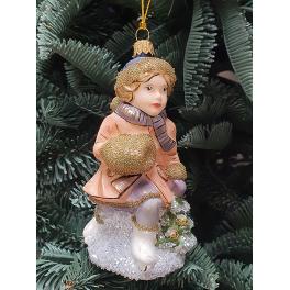 Стеклянная ёлочная игрушка «Девочка с муфтой на коньках», ручная работа