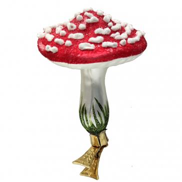 Стеклянная ёлочная игрушка на прищепке «Мухомор», 10х7,5 см