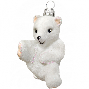 Стеклянная ёлочная игрушка «Забавный Умка», 10х8,5 см