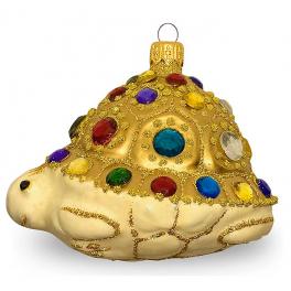 Стеклянная ёлочная игрушка «Драгоценная черепашка», ручная работа
