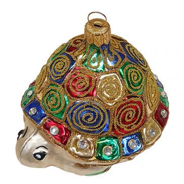 Стеклянная ёлочная игрушка «Черепашка», 9х6,5 см