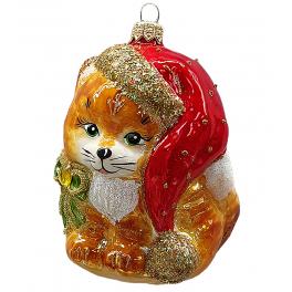 Стеклянная ёлочная игрушка «Котёнок-Санта», 10х8 см