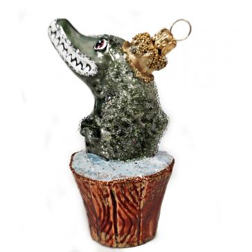 Стеклянная ёлочная игрушка «Волшебная щука», 10,5 см