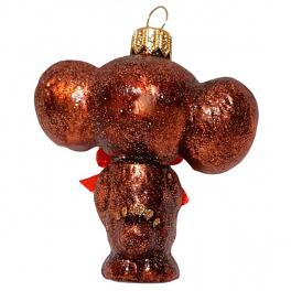 Стеклянная ёлочная игрушка «Чебурашка», 8х7 см
