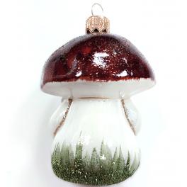 Стеклянная ёлочная игрушка «Гриб Боровик», 8,5х6 см