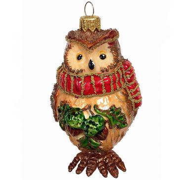 Стеклянная ёлочная игрушка «Сахарная сова», высота 12 см