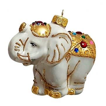 Стеклянная ёлочная игрушка «Слон в нарядной попоне», ручная работа