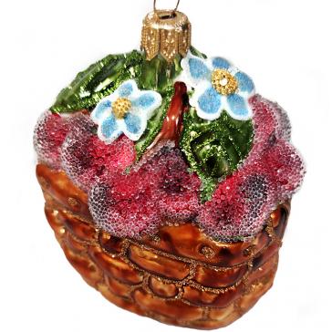 Стеклянная ёлочная игрушка «Зимняя вишня», 8х8х7 см