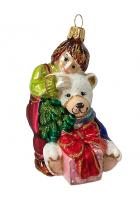 Ёлочная игрушка «Мальчик с медвежонком»