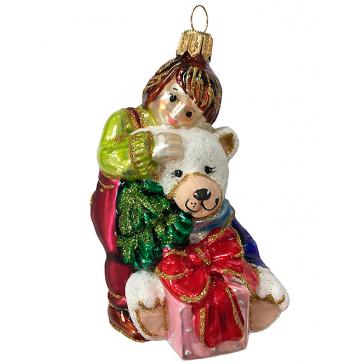 Стеклянная ёлочная игрушка «Мальчик с медвежонком», 10х7 см