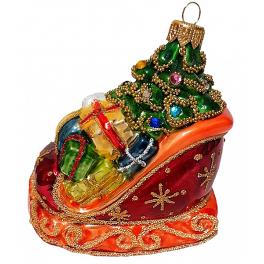 Стеклянная ёлочная игрушка «Сани с новогодними подарками», 10х9 см