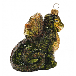 Стеклянная ёлочная игрушка «Дракон», 9х7 см