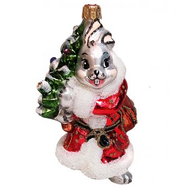 Стеклянная ёлочная игрушка «Зайчик Почтальон», 10,5 см