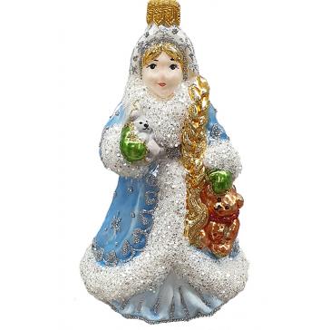 Стеклянная ёлочная игрушка «Снегурочка с мишкой», высота 12,5 см