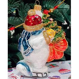 Стеклянная ёлочная игрушка «Снеговик на коньках», 12х8 см