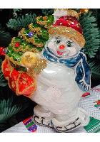 Ёлочная игрушка «Снеговик на коньках»