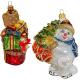 Набор ёлочных игрушек «Снеговик на коньках и подарки»