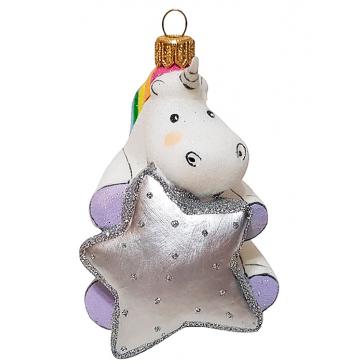Стеклянная ёлочная игрушка «Единорог со звездочкой», высота 9 см