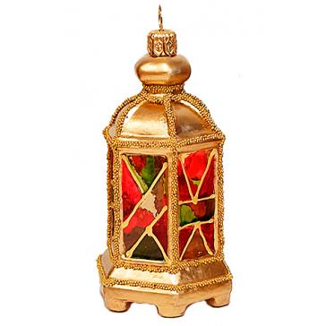 Стеклянная ёлочная игрушка «Фонарик», 10 см