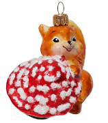 Ёлочная игрушка «Белочка с грибом»