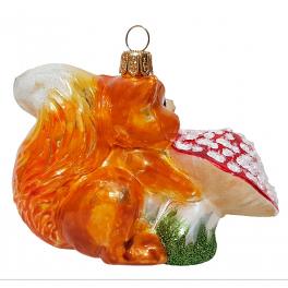 Стеклянная ёлочная игрушка «Белочка с грибом», ручная работа