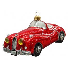 Стеклянная ёлочная игрушка «Спортивное авто», 12х6 см
