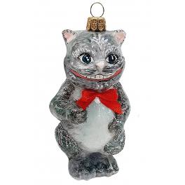 Стеклянная ёлочная игрушка «Чеширский кот», 10х5 см