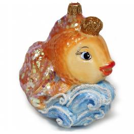 Стеклянная ёлочная игрушка «Золотая рыбка», 10х10 см