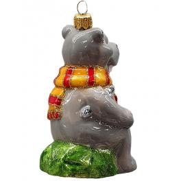 Стеклянная ёлочная игрушка «Бегемот с градусником», ручная работа